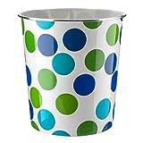 Home Plus - Cestino per la Carta dei rifiuti, 7 Litri, Design Floreale, Leggero A Pois, Blu e Verde.