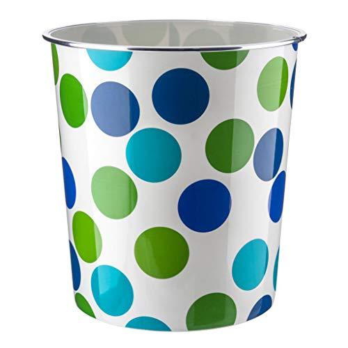 Home Plus Papierkorb, 7,7 l, Blumenmuster, leicht, Blau / Grün gepunktet
