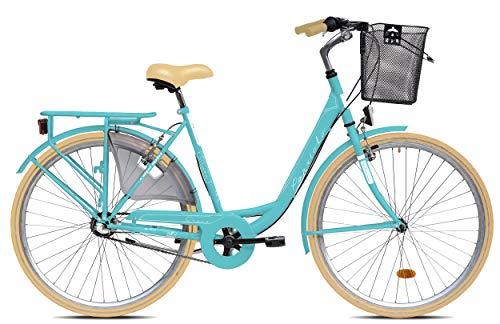 breluxx® 28 Zoll Damenfahrrad Diana, Rücktrittbremse, Nexus 3 Gang Nabenschaltung, Citybike mit Korb + Beleuchtung, Retro Bike, türkis - Modell 2020