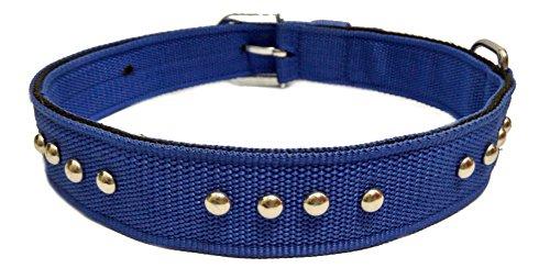 Sollar's Nylon Stud Durable Dog Collar Belt (Blue, XL)