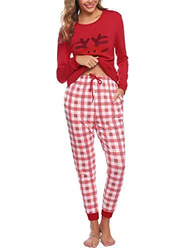 Aibrou Pigiama Donna Inverno Cotone,Pantaloni in Cotone A Quadri E Set di Cervi con Motivo A Top di Pigiama Noel