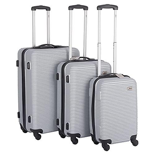 Reisekoffer Set 3 Teilig Hartschale Trolley Kofferset Reisetasche mit 4 Rollen und Zahlenschloß Weiß, Silber-farbig