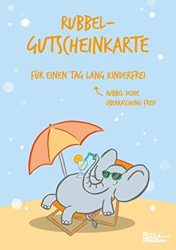 ART + emotions Rubbel- Gutscheinkarte - für einen Tag lang Kinderfrei - Überraschungskarte Gutschein Kratzkarte Wunschkarte