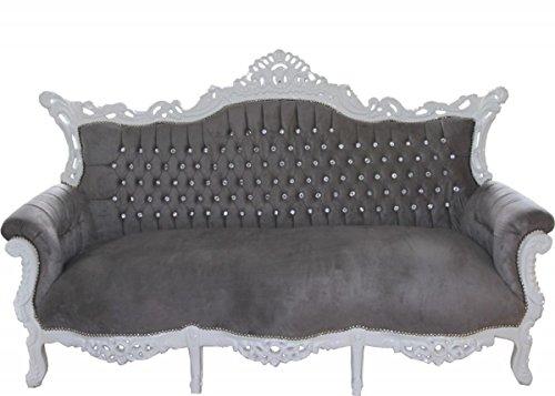 Barock 3-er Sofa Master Grau/Weiß mit Bling Bling Glitzersteinen - Wohnzimmer Möbel Couch Lounge