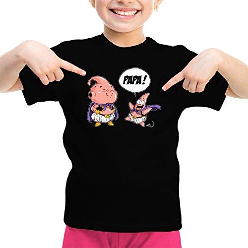 T-Shirt Enfant Fille Noir Dragon Ball Z - Bob l'éponge parodique Boubou et Patrick l'étoile de Mer : Tel père tel Fils (Version SD) (Parodie Dragon Ball Z - Bob l'éponge)
