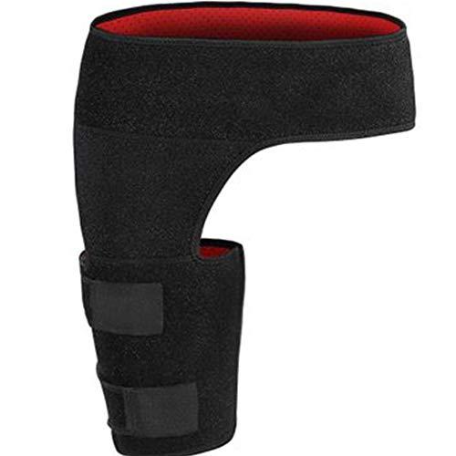 Protector para muslos, rodillera para cadera Manga de compresión para muslo - Protector de ingle ajustable - para alivio de dolor de la pierna ciática para recuperación de lesiones (Unisex, negro)