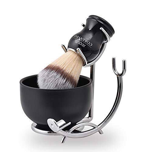 Deluxe Shaving Kit for Men, 3 in 1 Shaving Set Includes Shaving Brush, Shaving Bowl, Razor & Brush Holder