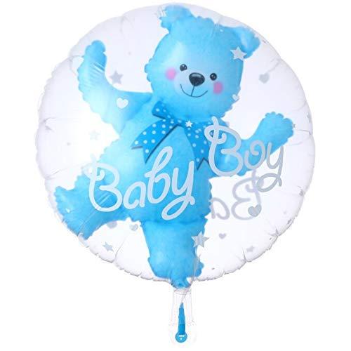 DIWULI, süßer Baby Bär Luftballon, Folien-Ballon blau Baby Boy Junge, Folienluftballon für Babyparty, Geburt, Kindergeburtstag, Geschenk-Deko (blau)