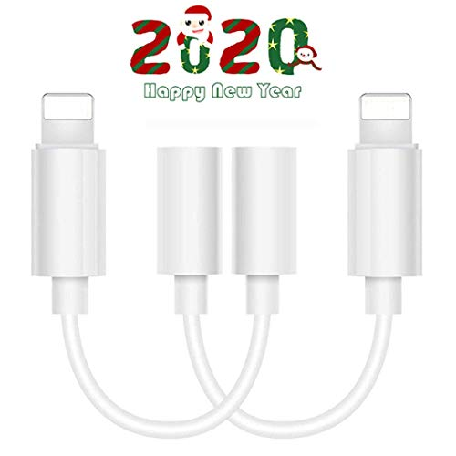 Lighting to 3.5 mm Headphone Adapter Earphone Earbuds Adapter Jack 2 Pack,Easy Use,Compatible with Apple iPhone 11 Pro Max X/XS/Max/XR 7/8/8 Plus Plug and Play Grill Cloth