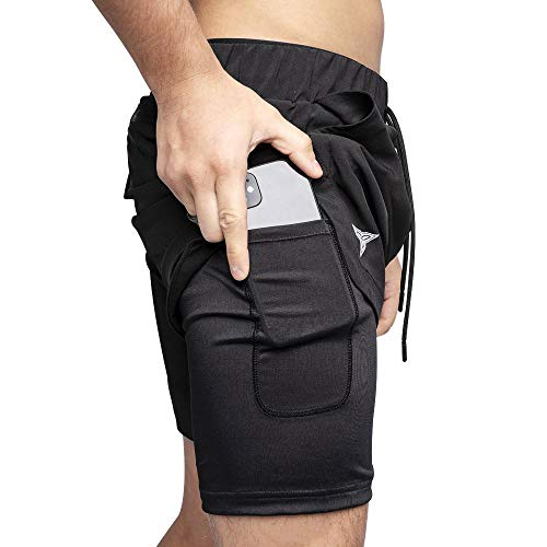 Hybrid Shorts with Compression Inseam - 2 in 1 Running, Gym, Workout, Quick Dry Shorts with Phone Pocket, Towel Loop, Zipper (Black/Black, X-Small)