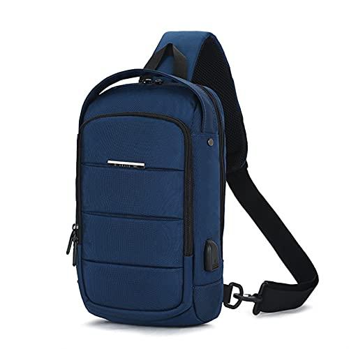 GO-AHEAD Bolsa de pecho para hombre casual para hombre, impermeable, bolsa de hombro de carga USB masculina de gran capacidad, bolsa de mensajero Oxford #g (color: azul, tamaño: 21 x 11 x 35 cm)