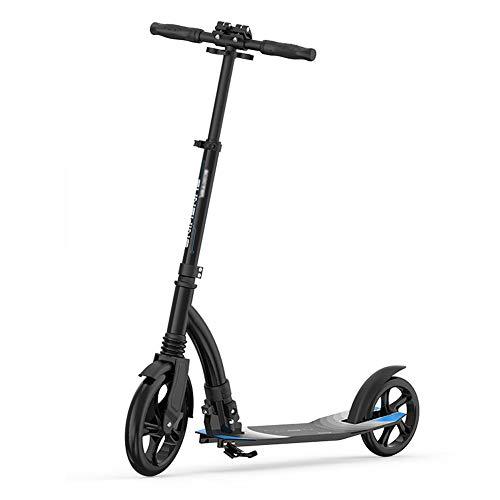 LANGWEI Scooter para Adultos/Adolescentes con Sistema De Plegado Fácil En 3 Segundos, Patinete De Estilo Libre Ajustable Plegable De 2 Ruedas De 220 LB con Ruedas Grandes De 230 Mm,Negro