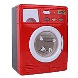 Zerodis Mini Lavatrice Giocattolo, Simulazione elettrodomestico fingere Giochi di Ruolo Giocattolo per Bambini Piccoli(Rosso)