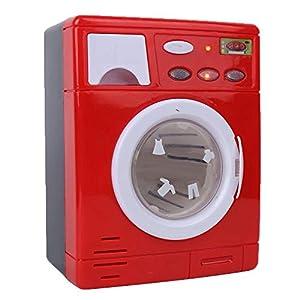 Zerodis Mini Juguete para Lavadora, simulación de electrodomésticos electrodomésticos Juego de simulación de electrodomésticos para niños pequeños(Rojo)