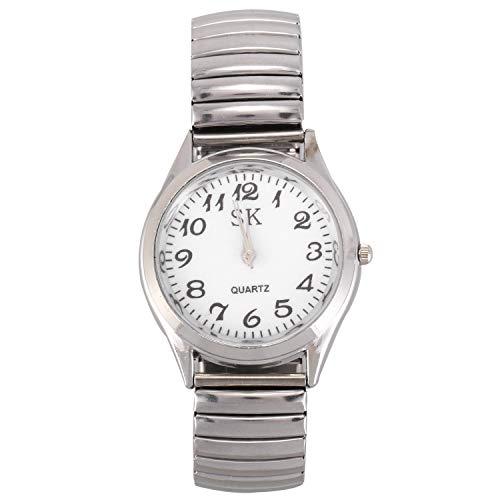 VANOLU Reloj de pulsera deportivo de acero con números grandes, 3,6 cm