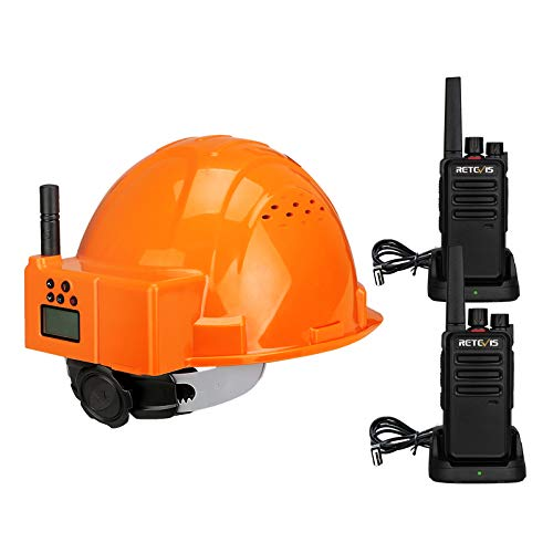 Retevis RA616-RT668 Walkie Talkie Casco, Walki Talki PMR446 Recargable, Linterna LED Doble, Casco de Radio Bidireccional ABS Transpirable, CTCSS/DCS VOX Tot Scan, Sitio de Construcción(3 Piezas)