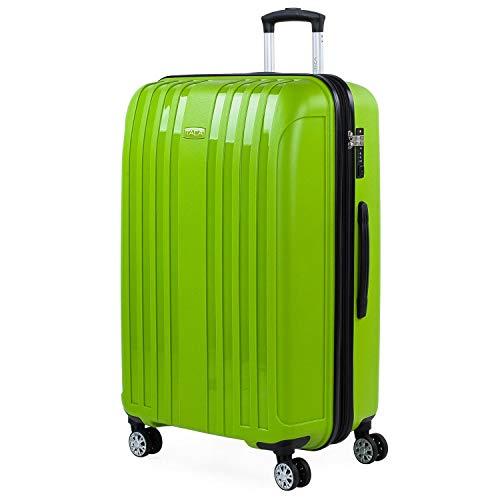 ITACA - Maleta Grande Expandible para Viaje Rígida con 4 Ruedas Dobles Fabricada en Polipropileno con Cerradura de Seguridad TSA, Ligeras y Resistentes 760270, Color Pistacho