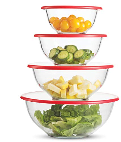 Superior Glass Mixing Bowls with Lids - 8 Piece Mixing Bowl Set with BPA- Free lids