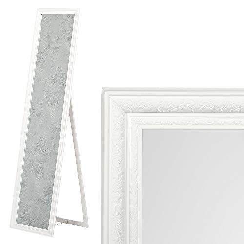 LEBENSwohnART Standspiegel Jennifer Weiß ca. H160cm Spiegel Ankleidespiegel Ganzkörperspiegel