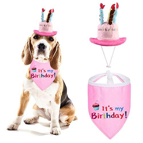 Happy Birthday Hund Turban Schal und niedliche Party Hut, Jungen Weicher Schal und niedliche Party Hut, Haustier Geburtstag Geschenk Dekoration Set (Rosa/Blau)