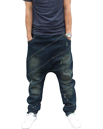 Herren Hip Hop Hipster Rap Style Baggy Jeans in Waschung