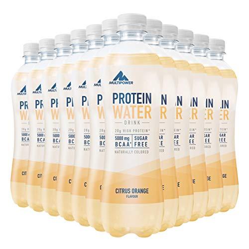 Multipower Protein Water, 12 x 500 ml mit Whey Protein angereichertes Wasser, leckeres Erfrischungsgetränk zur Flüssigkeitszufuhr, Citrus Orange