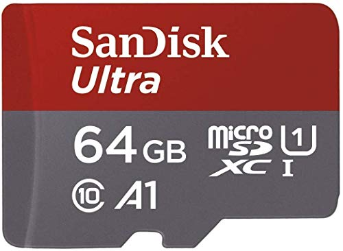 SanDisk 64GB Ultra MicroSDXC UHS-I Memory Card with Adapter - 100MB/s, C10, U1, Full HD, A1,...