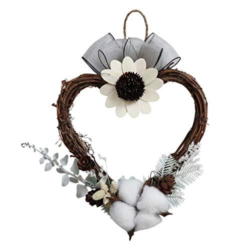 Happyyami natürliche Herz Blume Kranz Baumwolle Blumengirlande für Weihnachtskranz Tür Girlande Hochzeit Wanddekorationen