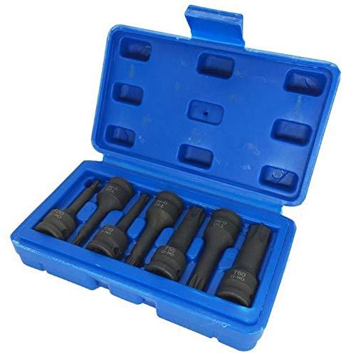 Camisin Juego de 7 puntas de destornillador de 3/8 pulgadas (3/8 pulgadas), estrella métrica, Torx hexagonal, hexagonal, juego de herramientas