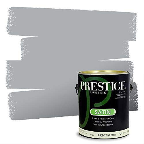 PRESTIGE, Blues and Purples 8 of 8, Exterior Paint and Primer In One, 1-Gallon, Satin, Gray Flannel