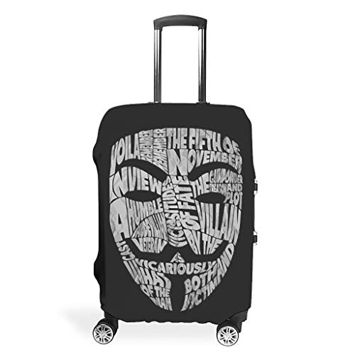 VVEDesign Travel Luggage Cover Washable Fashion Spandex Travel Baggage Suitcase Protector Anti-Water Luggage Protector Case Guy Masks Printing white xl(30-32 inch)