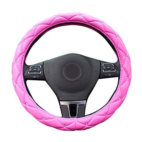Mengmiao Damen Lenkrad Abdeckung Atmungsaktiv Strass Weich Autoinnenraum Anti Rutsch PU Leder Lenkradhülle (Rose, 36 cm(Außendurchmesser))