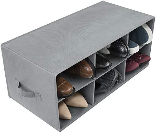 Sorbus Shoe Organizer Bin, 6 Section Cubby Shoe Shelves, Foldable Portable Detachable Closet Organizer Storage for Home Organization