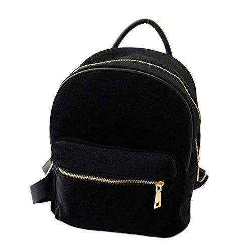 Teenager Mädchen Tasche Mode Frauen Samt Rucksäcke Pleuche Casual Reißverschluss Taschen, Schwarz - A02:schwarz - Größe: Einheitsgröße