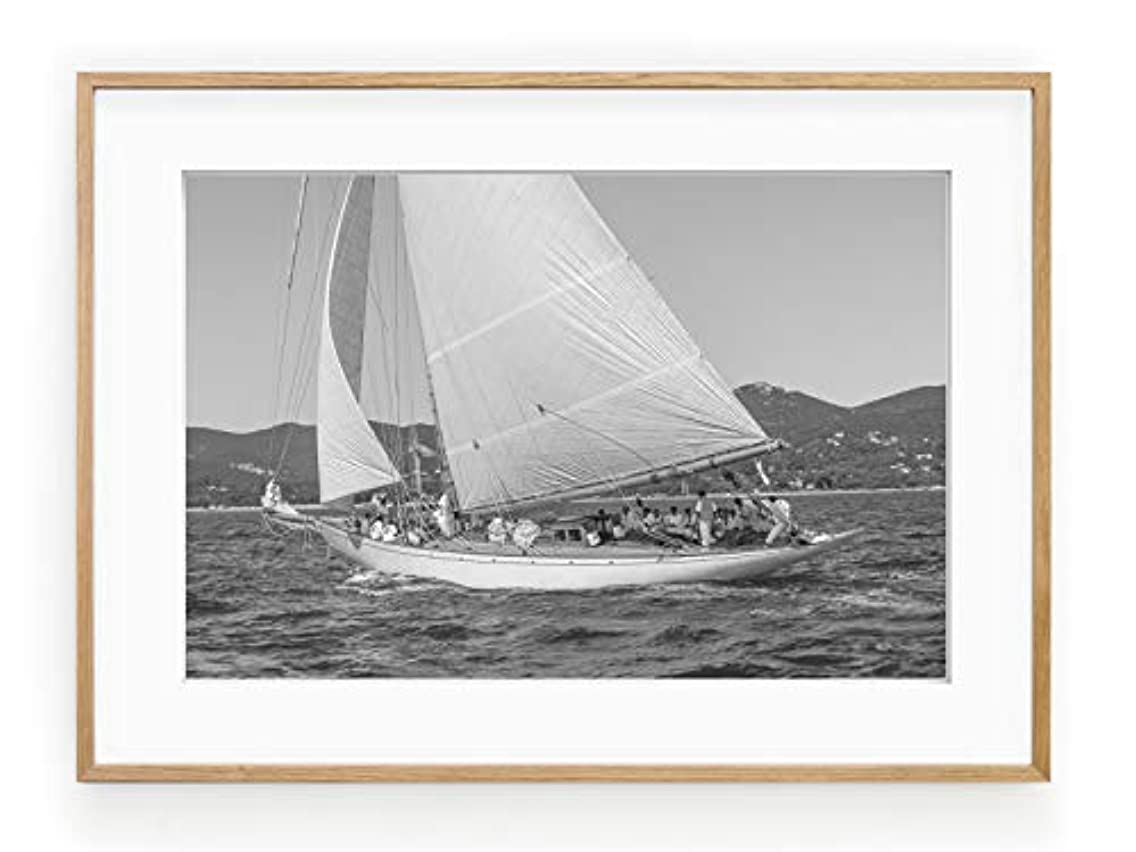 Solid Oak Sailing Boat, Natural Frame, with Mount, Multicolored, 30x40