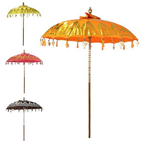 Oriental Galerie Bali Sonnenschirm Balinesischer Garten Schirm Baumwolle Sonnenschutz Handarbeit Retro Vintage Dekoschirm 2-teilig ca.180 cm Doppelte Bemalung, Farbe:Nr.2