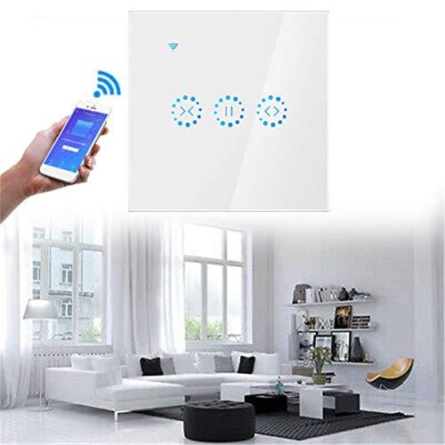 Smart Rollladenschalter Zeitschaltuhr, WiFi Vorhang Jalousien Schalter mit Touch Panel, Kompatibel mit Alexa Echo und Google Assistant, App Fernbedienung und Timer Funktion (Weiß)