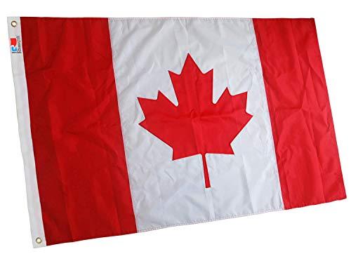 rhungift Kanada Flagge, Besticktes Ahornblatt, langlebiges Oxford-Nylon, kanadische Flaggen, Superior Dreifachnähte, vierfach genähte Fliegenenden, 90 x 150 cm, Kanadas Fahne Flag of Canada