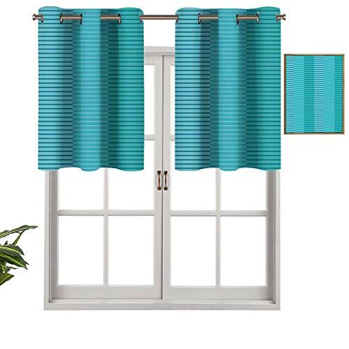 Cenefa de cortina opaca con ojales en la parte superior, diseño de rayas abstractas con imagen digital, juego de 1, 127 x 45 cm, tratamiento para ventana para sala de estar