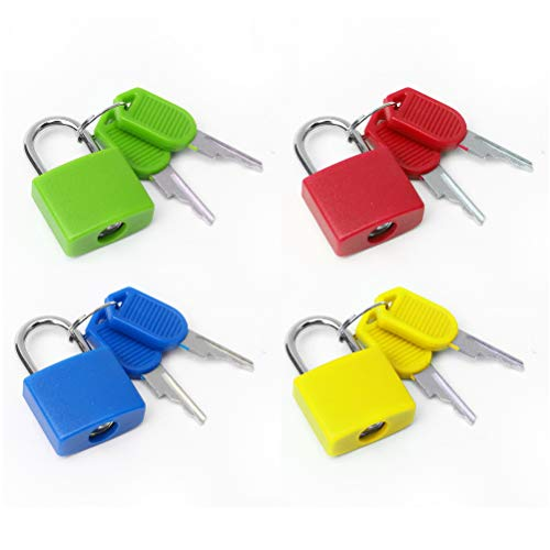 Pengxiaomei 4Pcs Suitcase Lock,4 Colors Mini Padlock with Key Small Locks for Schoolbag Backpack Luggage Padlock for School Gym 1.2×0.9Inch