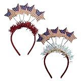 Minkissy 2 Piezas Cabeza de Estrella Bopper Día de La Independencia Bandera Americana Diadema Brillo Oropel Pelo Aro 4 de Julio Tocado para Niñas Mujeres Fiesta Sombreros
