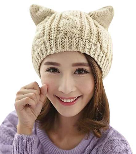 Amberetech Cute Woollike Knitted CAT Kitty Ears Women Lady Girl Headgear Crochet Hats (Beige)