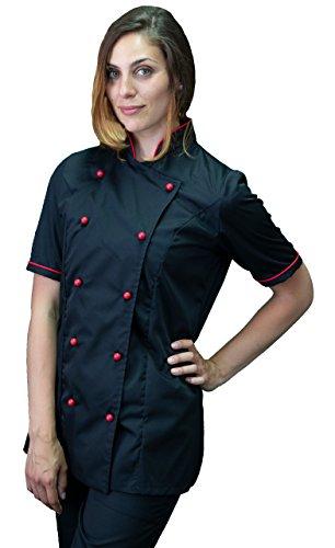 tessile astorino Ricamo Gratuito - Giacca Cuoco da Cucina - Casacca Chef Donna Manica Corta - Nera e Rossa - Made in Italy (Large)