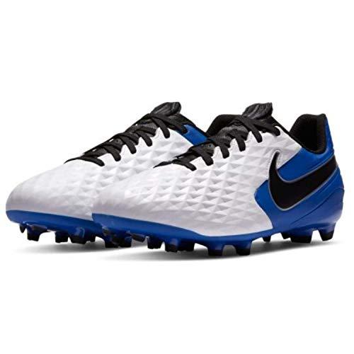 Nike Jr. Legend 8 Academy FG/MG, Football Shoe Unisex-Child, White/Black-Hyper Royal-Metallic Silver, 35 EU