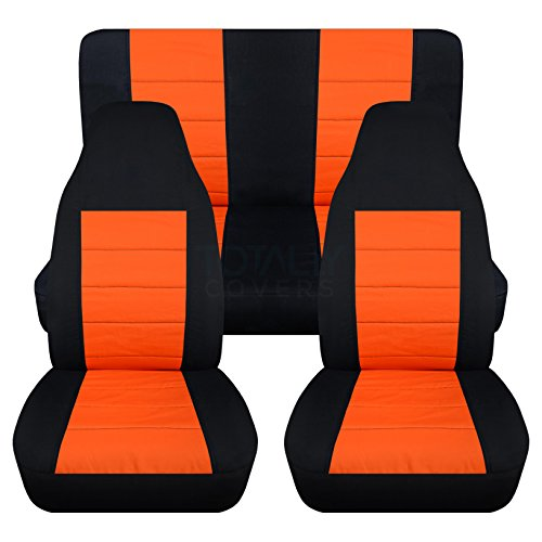Totally Covers Compatible with 1997-2006 Jeep Wrangler TJ Seat Covers: Black & Orange - Full Set: Front & Rear (23 Colors) 2-Door Complete Back Bench