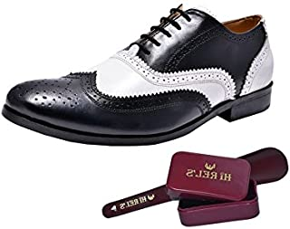 HiREL'S Mens Dual Color Black and White Leather Brogues