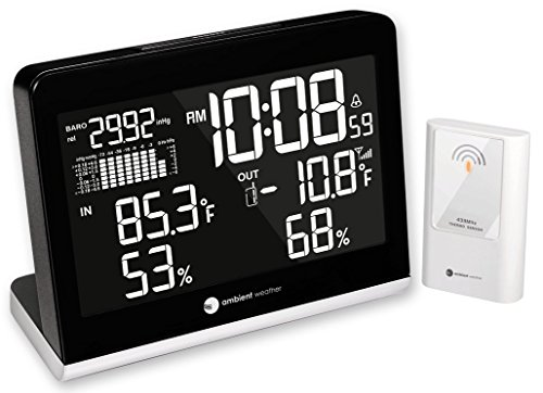 Ambient Weather WS-8600 Weather Station Clock with 256 Color Changing Ambient Temperature Display, Wireless Temperature, Humidity, and Barometer (Black)