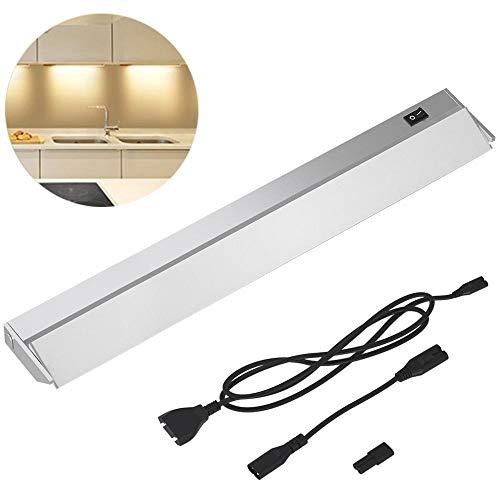BAKAJI Lámpara de luz para debajo cocina, longitud 90 cm, barra 90 LED 15 W, blanco natural, 4000 K, alta luminosidad, 1200 lm, foco delgado bajo armario para muebles, gris