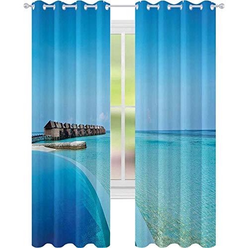 Cortinas opacas, aislamiento de juntas, piscina infinita en las Maldivas, Bungalows, Horizon Ocean Tropics, Sky Moon de miel, 52 x 72, cortinas para sala de estar, azul Aqua