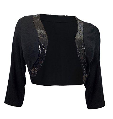 eVogues Women's Sequin Trim 3/4 Sleeve Cropped Bolero Shrug Black - 2X